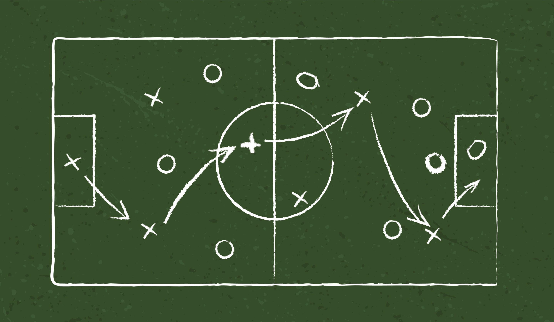 Sport strategy on green field. eps10